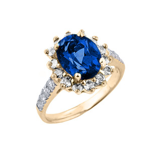Yellow Gold Diamond And Sapphire (LCS) September Birthstone Proposal Ring