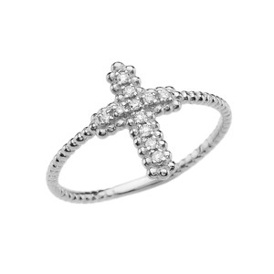 Diamond Cross With Beaded Band Dainty White Gold Ring