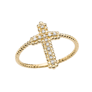 Diamond Cross Beaded Index Ring in Yellow Gold
