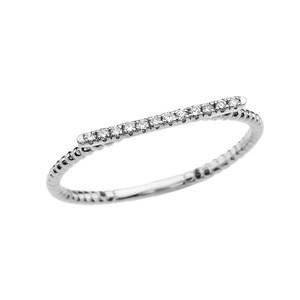 Diamond Beaded Modern Dainty White Gold Ring