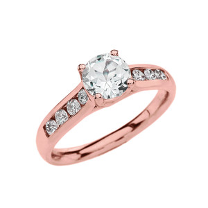 Channel Set Diamond Rose Gold Engagement Solitaire Ring With 1 Carat White Topaz Center stone