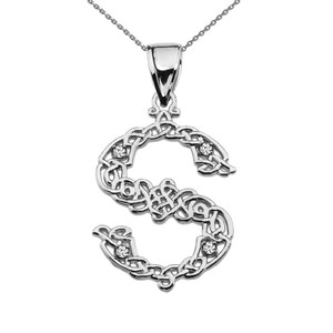 """""""S"""" Initial In Celtic Knot Pattern Sterling Silver Pendant Necklace With CZ"""