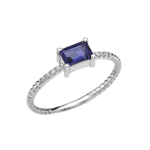 Dainty White Gold Solitaire Emerald Cut Iolite and Diamond Rope Design Engagement/Promise Ring
