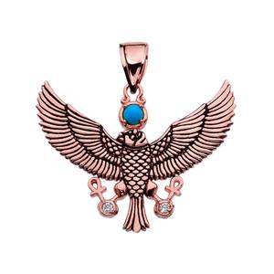 Diamond Falcon of Tutankhamun holding the 'Ankh' Cross Rose Gold Pendant Necklace