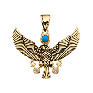 Diamond Falcon of Tutankhamun holding the 'Ankh' Cross Yellow Gold Pendant Necklace