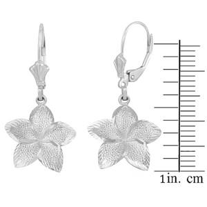 14K White Gold Five Petal Textured Plumeria Flower Earring Set  (Large)