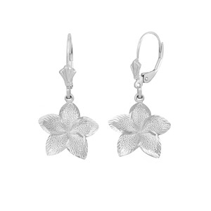 14K White Gold Five Petal Textured Plumeria Flower Earring Set  (Small)