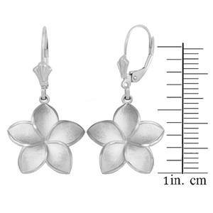 14K White Gold Five Petal Diamond Cut Plumeria Flower Matte Earring Set  (Large)