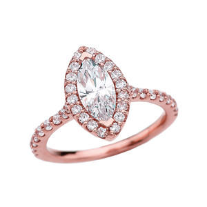 1.5 Carat Cubic Zirconia Marquise Solitaire Elegant Rose Gold Engagement Proposal Ring