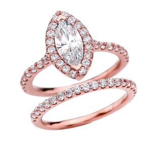 Cubic Zirconia Marquise Solitaire Elegant Rose Gold Engagement Wedding Ring Set
