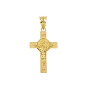 "Yellow Gold St. Benedict Crucifix Pendant Necklace (1.10"")"