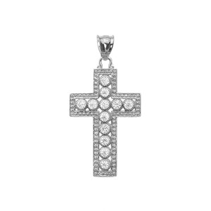 White Gold Cross Pendant Necklace With Cubic Zirconia
