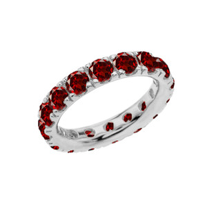4mm Comfort Fit Sterling Silver Eternity Band With January Birthstone Garnet
