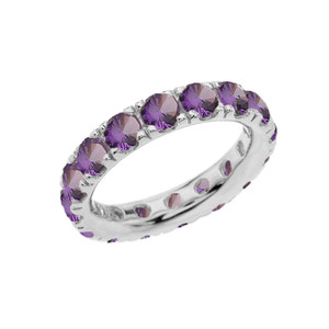 4mm Comfort Fit Sterling Silver Eternity Band With June Birthstone Alexandrite