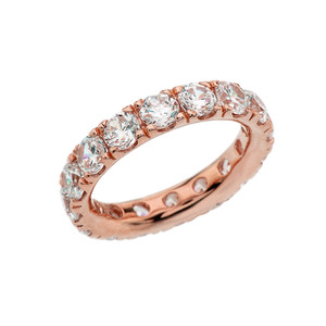 4mm Comfort Fit Rose Gold Eternity Band With 5 ct White Topaz