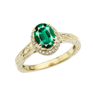 Yellow Gold Art Deco Halo Diamond With Emerald(LCE) Engagement/Proposal Ring