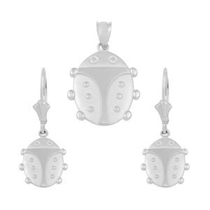 14K White Gold Lucky Ladybug Pendant Necklace Earring Set