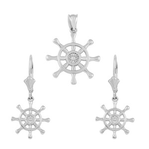 14K White Gold Nautical Ship Wheel Pendant Necklace Earring Set