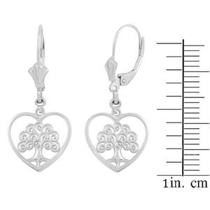 14K White Gold Tree of Life Open Heart Filigree Earring Set