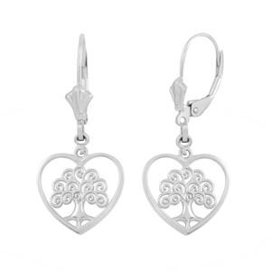 Sterling Silver Tree of Life Open Heart Filigree Earring Set