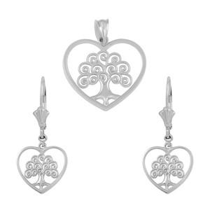 14k White Gold Tree of Life Open Heart Filigree Pendant Necklace Earring Set