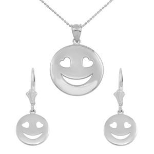 14K White Gold Heart Eyes Smiley Face Pendant Necklace Earring Set