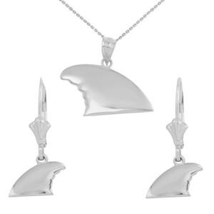 Sterling Silver  Shark Fin Pendant Necklace Earring Set