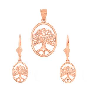 14K Rose Gold Tree of Life Filigree Swirl Celtic Pendant Necklace Earring Set
