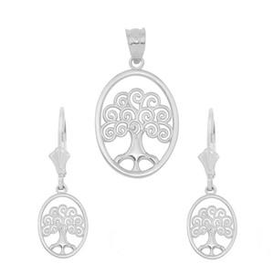 14K White Gold Tree of Life Filigree Swirl Celtic Pendant Necklace Earring Set