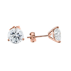 10K Rose Gold CZ Martini Stud Earrings
