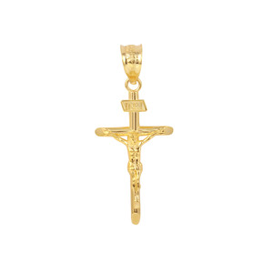 "Solid Yellow Gold INRI Cross Pendant Necklace ( 1.18"")"