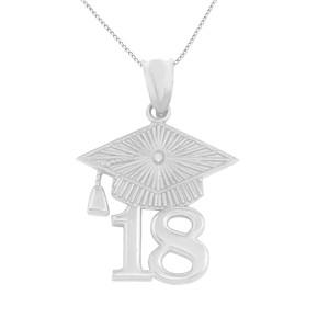 Sterling Silver 2018 Graduation Cap Pendant Necklace