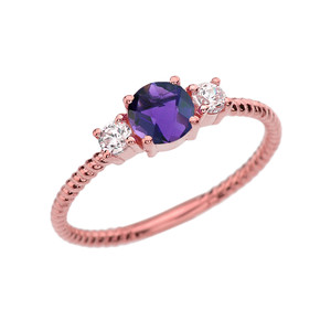 Dainty Rose Gold Amethyst and White Topaz Rope Design Engagement/Promise Ring