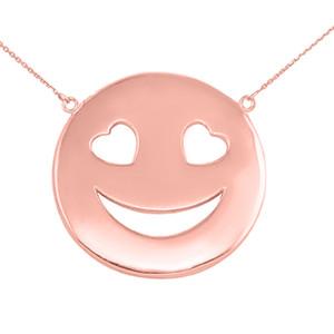 14K Solid Rose Gold Smiley Face Heart Eyes Sideways Pendant Necklace