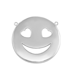 14K Solid White Gold Smiley Face Heart Eyes Sideways Pendant Necklace