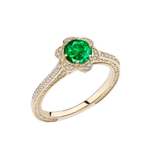 Emerald(LCE) and Diamond Yellow Gold Engagement/Proposal Ring