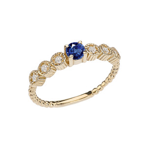 Diamond and Sapphire Yellow Gold Stackable/Promise Beaded Popcorn Collection Ring