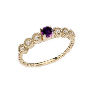 Diamond and Amethyst Yellow Gold Stackable/Promise Beaded Popcorn Collection Ring