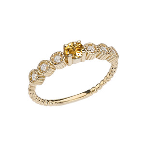 Diamond and Citrine Yellow Gold Stackable/Promise Beaded Popcorn Collection Ring