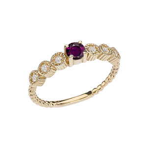 Diamond and Alexandrite(LCAL) Yellow Gold Stackable/Promise Beaded Popcorn Collection Ring
