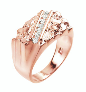 Rose Gold Cubic Zirconia Signet Nugget Men's Ring