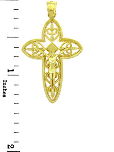 Yellow Gold Crucifix Pendant - The Holy Trinity Crucifix