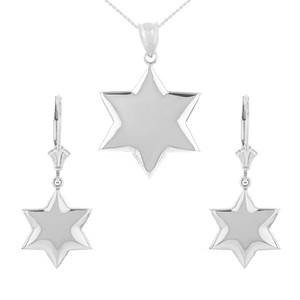 14K Solid White Gold Star Pendant Necklace Earring Set