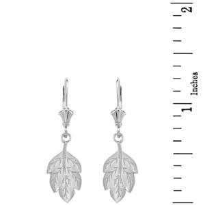 14K Solid White Gold Matte Detailed Textured Leaf Drop Earring Set