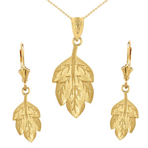 14K Solid Yellow Gold Matte Detailed Textured Leaf Pendant Earring Set