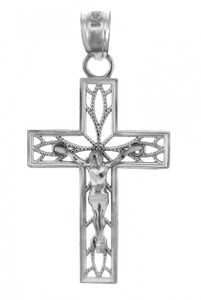 White Gold Crucifix Pendant - The Trust Crucifix