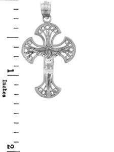 White Gold Crucifix Pendant - The Heaven Crucifix