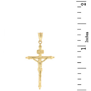 """Solid Yellow Gold INRI Christ Passion Cross Crucifix Pendant Necklace  1.2"""" (32  mm)"""