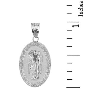 "Sterling Silver Archangel Saint Gabriel CZ Oval Medallion Pendant Necklace  1.02"" (25 mm)"