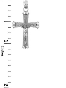 White Gold Crucifix Pendant - The Sacred Crucifix